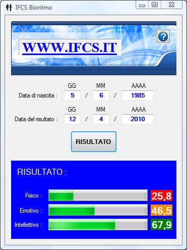 Schermata IFCS Bioritmo